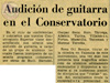 1971, 26 feb.: Audición de guitarra en el Conservatorio
